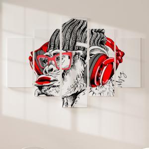 Quadro Decorativo Mosaico LUXO - Macaco Hipster Excelente qualidade  em vinil autocolante telado LUXO 1,25mt X 0,65cm Impressão Digital MDF - VINIL TELADO LUXO CONTÉM 5 PEÇAS TODAS EM MDF 6mm e impressão digital