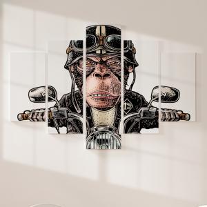 Quadro Decorativo Mosaico LUXO - Macaco Motoqueiro Excelente qualidade  em vinil autocolante telado LUXO 1,25mt X 0,65cm Impressão Digital MDF - VINIL TELADO LUXO CONTÉM 5 PEÇAS TODAS EM MDF 6mm e impressão digital