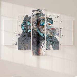 Quadro Decorativo Mosaico LUXO - Macaco Ouvindo Música Excelente qualidade  em vinil autocolante telado LUXO 1,25mt X 0,65cm Impressão Digital MDF - VINIL TELADO LUXO CONTÉM 5 PEÇAS TODAS EM MDF 6mm e impressão digital