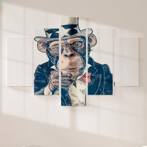 Quadro Decorativo Mosaico LUXO - Macaco Tio Sam Excelente qualidade  em vinil autocolante telado LUXO 1,25mt X 0,65cm Impressão Digital MDF - VINIL TELADO LUXO CONTÉM 5 PEÇAS TODAS EM MDF 6mm e impressão digital