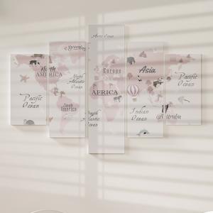 Quadro Decorativo Mosaico LUXO - Mapa do mundo rosa Excelente qualidade  em vinil autocolante telado LUXO 1,25mt X 0,65cm Impressão Digital MDF - VINIL TELADO LUXO CONTÉM 5 PEÇAS TODAS EM MDF 6mm e impressão digital