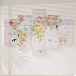 Quadro Decorativo Mosaico LUXO - Mapa vetorial do mundo com animais Excelente qualidade  em vinil autocolante telado LUXO 1,25mt X 0,65cm Impressão Digital MDF - VINIL TELADO LUXO CONTÉM 5 PEÇAS TODAS EM MDF 6mm e impressão digital