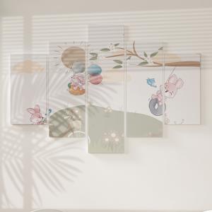 Quadro Decorativo Mosaico LUXO - Menina em um balanço de primavera Excelente qualidade  em vinil autocolante telado LUXO 1,25mt X 0,65cm Impressão Digital MDF - VINIL TELADO LUXO CONTÉM 5 PEÇAS TODAS EM MDF 6mm e impressão digital
