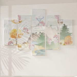 Quadro Decorativo Mosaico LUXO - meninas unicórnio bonito Excelente qualidade  em vinil autocolante telado LUXO 1,25mt X 0,65cm Impressão Digital MDF - VINIL TELADO LUXO CONTÉM 5 PEÇAS TODAS EM MDF 6mm e impressão digital