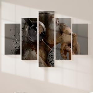 Quadro Decorativo Mosaico LUXO - Music fan hipster monkey in headphone Excelente qualidade  em vinil autocolante telado LUXO 1,25mt X 0,65cm Impressão Digital MDF - VINIL TELADO LUXO CONTÉM 5 PEÇAS TODAS EM MDF 6mm e impressão digital