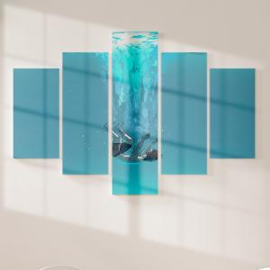 Quadro Decorativo Mosaico LUXO - o jovem submergindo Excelente qualidade  em vinil autocolante telado LUXO 1,25mt X 0,65cm Impressão Digital MDF - VINIL TELADO LUXO CONTÉM 5 PEÇAS TODAS EM MDF 6mm e impressão digital
