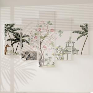 Quadro Decorativo Mosaico LUXO - Palmeiras florais indianas vintage Excelente qualidade  em vinil autocolante telado LUXO 1,25mt X 0,65cm Impressão Digital MDF - VINIL TELADO LUXO CONTÉM 5 PEÇAS TODAS EM MDF 6mm e impressão digital