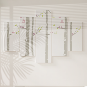 Quadro Decorativo Mosaico LUXO - Pássaro na árvore Excelente qualidade  em vinil autocolante telado LUXO 1,25mt X 0,65cm Impressão Digital MDF - VINIL TELADO LUXO CONTÉM 5 PEÇAS TODAS EM MDF 6mm e impressão digital