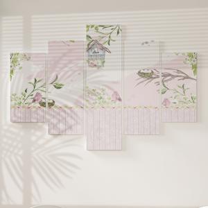 Quadro Decorativo Mosaico LUXO - Passaros lindos Excelente qualidade  em vinil autocolante telado LUXO 1,25mt X 0,65cm Impressão Digital MDF - VINIL TELADO LUXO CONTÉM 5 PEÇAS TODAS EM MDF 6mm e impressão digital