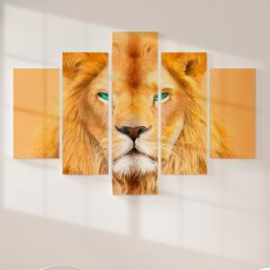 Quadro Decorativo Mosaico LUXO - pintura a óleo Amarela moderna do rei leão Excelente qualidade  em vinil autocolante telado LUXO 1,25mt X 0,65cm Impressão Digital MDF - VINIL TELADO LUXO CONTÉM 5 PEÇAS TODAS EM MDF 6mm e impressão digital