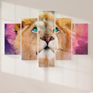 Quadro Decorativo Mosaico LUXO - Pintura a óleo moderna realista do rosto de leão Excelente qualidade  em vinil autocolante telado LUXO 1,25mt X 0,65cm Impressão Digital MDF - VINIL TELADO LUXO CONTÉM 5 PEÇAS TODAS EM MDF 6mm e impressão digital