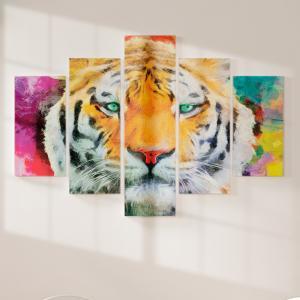 Quadro Decorativo Mosaico LUXO - Pintura a óleo moderna realista do rosto do tigre Excelente qualidade  em vinil autocolante telado LUXO 1,25mt X 0,65cm Impressão Digital MDF - VINIL TELADO LUXO CONTÉM 5 PEÇAS TODAS EM MDF 6mm e impressão digital