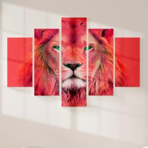 Quadro Decorativo Mosaico LUXO - pintura a óleo vermelho moderna do rei leão Excelente qualidade  em vinil autocolante telado LUXO 1,25mt X 0,65cm Impressão Digital MDF - VINIL TELADO LUXO CONTÉM 5 PEÇAS TODAS EM MDF 6mm e impressão digital