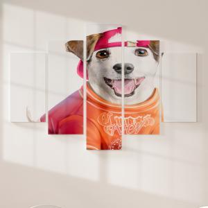 Quadro Decorativo Mosaico LUXO - Pintura de Jack Russell Terrier Excelente qualidade  em vinil autocolante telado LUXO 1,25mt X 0,65cm Impressão Digital MDF - VINIL TELADO LUXO CONTÉM 5 PEÇAS TODAS EM MDF 6mm e impressão digital