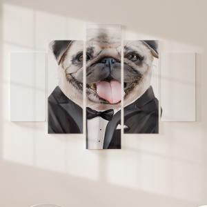 Quadro Decorativo Mosaico LUXO - Pintura de pug Excelente qualidade  em vinil autocolante telado LUXO 1,25mt X 0,65cm Impressão Digital MDF - VINIL TELADO LUXO CONTÉM 5 PEÇAS TODAS EM MDF 6mm e impressão digital