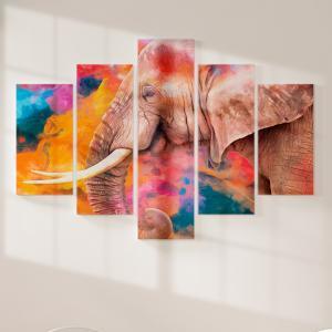 Quadro Decorativo Mosaico LUXO - pintura moderna de elefante Excelente qualidade  em vinil autocolante telado LUXO 1,25mt X 0,65cm Impressão Digital MDF - VINIL TELADO LUXO CONTÉM 5 PEÇAS TODAS EM MDF 6mm e impressão digital