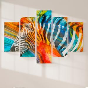 Quadro Decorativo Mosaico LUXO - pintura moderna de zebra Excelente qualidade  em vinil autocolante telado LUXO 1,25mt X 0,65cm Impressão Digital MDF - VINIL TELADO LUXO CONTÉM 5 PEÇAS TODAS EM MDF 6mm e impressão digital