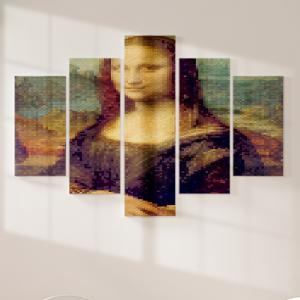 Quadro Decorativo Mosaico LUXO - Pixelização de Monaliza Excelente qualidade  em vinil autocolante telado LUXO 1,25mt X 0,65cm Impressão Digital MDF - VINIL TELADO LUXO CONTÉM 5 PEÇAS TODAS EM MDF 6mm e impressão digital