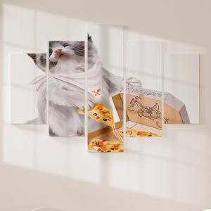 Quadro Decorativo Mosaico LUXO - Pizza Cat Excelente qualidade  em vinil autocolante telado LUXO 1,25mt X 0,65cm Impressão Digital MDF - VINIL TELADO LUXO CONTÉM 5 PEÇAS TODAS EM MDF 6mm e impressão digital
