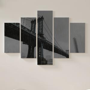 Quadro Decorativo Mosaico LUXO - Ponte do brooklyn em um dia chuvoso Excelente qualidade  em vinil autocolante telado LUXO 1,25mt X 0,65cm Impressão Digital MDF - VINIL TELADO LUXO CONTÉM 5 PEÇAS TODAS EM MDF 6mm e impressão digital