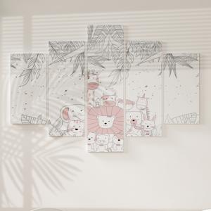 Quadro Decorativo Mosaico LUXO - Primavera do Unicornio Excelente qualidade  em vinil autocolante telado LUXO 1,25mt X 0,65cm Impressão Digital MDF - VINIL TELADO LUXO CONTÉM 5 PEÇAS TODAS EM MDF 6mm e impressão digital