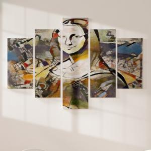 Quadro Decorativo Mosaico LUXO - Quadro Alternativo e Monalisa Excelente qualidade  em vinil autocolante telado LUXO 1,25mt X 0,65cm Impressão Digital MDF - VINIL TELADO LUXO CONTÉM 5 PEÇAS TODAS EM MDF 6mm e impressão digital