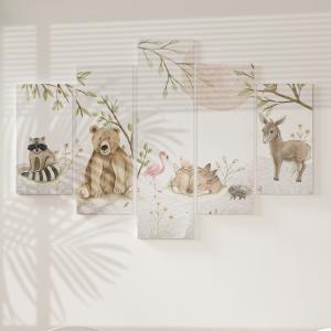 Quadro Decorativo Mosaico LUXO - A paisagem com a ursinha Excelente qualidade  em vinil autocolante telado LUXO 1,25mt X 0,65cm Impressão Digital MDF - VINIL TELADO LUXO CONTÉM 5 PEÇAS TODAS EM MDF 6mm e impressão digital