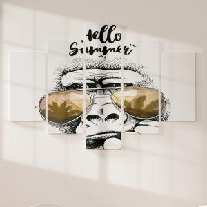 Quadro Decorativo Mosaico LUXO - Retrato de macaco em um óculos de sol Excelente qualidade  em vinil autocolante telado LUXO 1,25mt X 0,65cm Impressão Digital MDF - VINIL TELADO LUXO CONTÉM 5 PEÇAS TODAS EM MDF 6mm e impressão digital