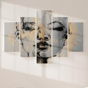 Quadro Decorativo Mosaico LUXO - retrato de mulher fantasia Excelente qualidade  em vinil autocolante telado LUXO 1,25mt X 0,65cm Impressão Digital MDF - VINIL TELADO LUXO CONTÉM 5 PEÇAS TODAS EM MDF 6mm e impressão digital
