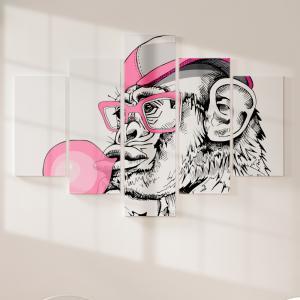 Quadro Decorativo Mosaico LUXO - Retrato de um macaco divertido, com um chiclete rosa Excelente qualidade  em vinil autocolante telado LUXO 1,25mt X 0,65cm Impressão Digital MDF - VINIL TELADO LUXO CONTÉM 5 PEÇAS TODAS EM MDF 6mm e impressão digital