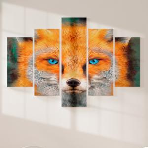 Quadro Decorativo Mosaico LUXO - rosto de raposa vermelha Excelente qualidade  em vinil autocolante telado LUXO 1,25mt X 0,65cm Impressão Digital MDF - VINIL TELADO LUXO CONTÉM 5 PEÇAS TODAS EM MDF 6mm e impressão digital