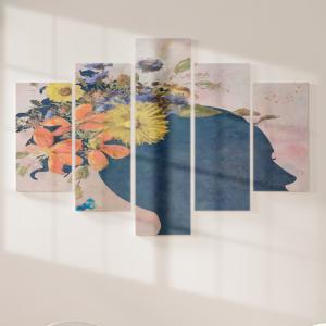 Quadro Decorativo Mosaico LUXO - Silhueta Feminina Excelente qualidade  em vinil autocolante telado LUXO 1,25mt X 0,65cm Impressão Digital MDF - VINIL TELADO LUXO CONTÉM 5 PEÇAS TODAS EM MDF 6mm e impressão digital