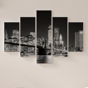 Quadro Decorativo Mosaico LUXO - Skyline de nova york em preto e branco Excelente qualidade  em vinil autocolante telado LUXO 1,25mt X 0,65cm Impressão Digital MDF - VINIL TELADO LUXO CONTÉM 5 PEÇAS TODAS EM MDF 6mm e impressão digital