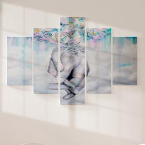 Quadro Decorativo Mosaico LUXO - ternura e amor Excelente qualidade  em vinil autocolante telado LUXO 1,25mt X 0,65cm Impressão Digital MDF - VINIL TELADO LUXO CONTÉM 5 PEÇAS TODAS EM MDF 6mm e impressão digital
