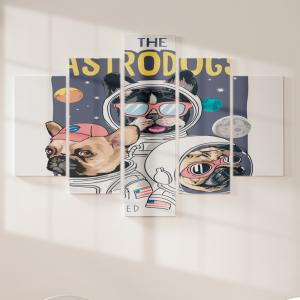 Quadro Decorativo Mosaico LUXO - the astrogogs Excelente qualidade  em vinil autocolante telado LUXO 1,25mt X 0,65cm Impressão Digital MDF - VINIL TELADO LUXO CONTÉM 5 PEÇAS TODAS EM MDF 6mm e impressão digital