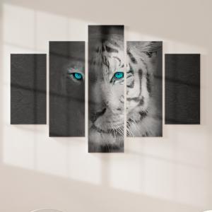 Quadro Decorativo Mosaico LUXO - Tigre Cinzento Excelente qualidade  em vinil autocolante telado LUXO 1,25mt X 0,65cm Impressão Digital MDF - VINIL TELADO LUXO CONTÉM 5 PEÇAS TODAS EM MDF 6mm e impressão digital
