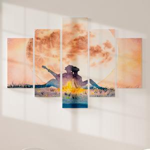 Quadro Decorativo Mosaico LUXO - tocar guitarra sob a noite de lua Excelente qualidade  em vinil autocolante telado LUXO 1,25mt X 0,65cm Impressão Digital MDF - VINIL TELADO LUXO CONTÉM 5 PEÇAS TODAS EM MDF 6mm e impressão digital
