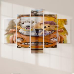 Quadro Decorativo Mosaico LUXO - Travel Excelente qualidade  em vinil autocolante telado LUXO 1,25mt X 0,65cm Impressão Digital MDF - VINIL TELADO LUXO CONTÉM 5 PEÇAS TODAS EM MDF 6mm e impressão digital