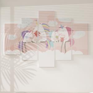 Quadro Decorativo Mosaico LUXO - unicórnio com amigos Excelente qualidade  em vinil autocolante telado LUXO 1,25mt X 0,65cm Impressão Digital MDF - VINIL TELADO LUXO CONTÉM 5 PEÇAS TODAS EM MDF 6mm e impressão digital