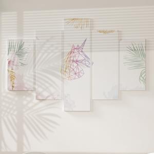 Quadro Decorativo Mosaico LUXO - Unicornio e folhas de palmeira, brilho dourado Excelente qualidade  em vinil autocolante telado LUXO 1,25mt X 0,65cm Impressão Digital MDF - VINIL TELADO LUXO CONTÉM 5 PEÇAS TODAS EM MDF 6mm e impressão digital