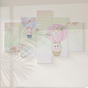 Quadro Decorativo Mosaico LUXO - Unicórnio em balão de ar Excelente qualidade  em vinil autocolante telado LUXO 1,25mt X 0,65cm Impressão Digital MDF - VINIL TELADO LUXO CONTÉM 5 PEÇAS TODAS EM MDF 6mm e impressão digital