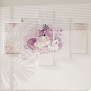 Quadro Decorativo Mosaico LUXO - unicórnios mãe e filha Excelente qualidade  em vinil autocolante telado LUXO 1,25mt X 0,65cm Impressão Digital MDF - VINIL TELADO LUXO CONTÉM 5 PEÇAS TODAS EM MDF 6mm e impressão digital