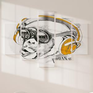 Quadro Decorativo Mosaico LUXO - urban monkey Excelente qualidade  em vinil autocolante telado LUXO 1,25mt X 0,65cm Impressão Digital MDF - VINIL TELADO LUXO CONTÉM 5 PEÇAS TODAS EM MDF 6mm e impressão digital