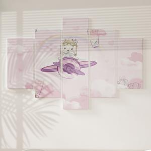 Quadro Decorativo Mosaico LUXO - Ursinha Aviadora Excelente qualidade  em vinil autocolante telado LUXO 1,25mt X 0,65cm Impressão Digital MDF - VINIL TELADO LUXO CONTÉM 5 PEÇAS TODAS EM MDF 6mm e impressão digital