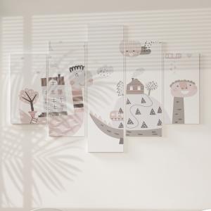 Quadro Decorativo Mosaico LUXO - vila com dinossauro brincando Excelente qualidade  em vinil autocolante telado LUXO 1,25mt X 0,65cm Impressão Digital MDF - VINIL TELADO LUXO CONTÉM 5 PEÇAS TODAS EM MDF 6mm e impressão digital