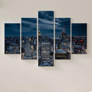Quadro Decorativo Mosaico LUXO - vista aérea da cidade de nova york à noite Excelente qualidade  em vinil autocolante telado LUXO 1,25mt X 0,65cm Impressão Digital MDF - VINIL TELADO LUXO CONTÉM 5 PEÇAS TODAS EM MDF 6mm e impressão digital