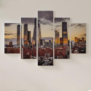 Quadro Decorativo Mosaico LUXO - Vista por do sol no escritório do google em chelsea Excelente qualidade  em vinil autocolante telado LUXO 1,25mt X 0,65cm Impressão Digital MDF - VINIL TELADO LUXO CONTÉM 5 PEÇAS TODAS EM MDF 6mm e impressão digital