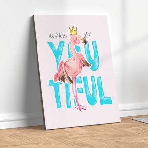 Quadro desenho animado flamingo na coroa Moldura Madeira de Reflorestamento - Fundo em Madeira 100% MDF 3mm  Impressão Digital Quadro de Moldura Com Vidro Com Ou Sem Moldura Vinil Texturizado