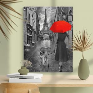 Quadro Dia chuvoso em Paris Moldura Madeira de Reflorestamento - Fundo em Madeira 100% MDF 3mm  Impressão Digital Quadro de Moldura Com Vidro Com Ou Sem Moldura Vinil Texturizado