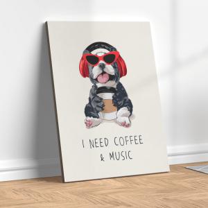 Quadro eu preciso de café e música Moldura Madeira de Reflorestamento - Fundo em Madeira 100% MDF 3mm  Impressão Digital Quadro de Moldura Com Vidro Com Ou Sem Moldura Vinil Texturizado